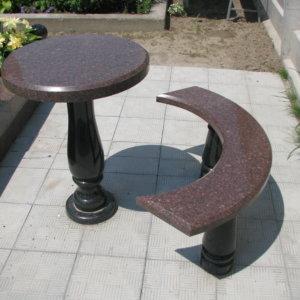 Стол и лавка из гранита СЛ-004